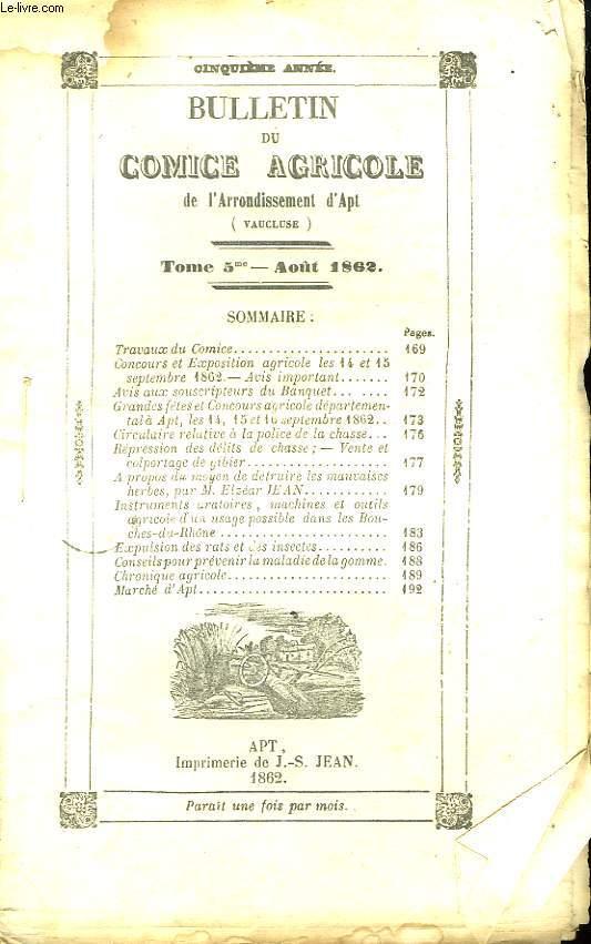 Bulletin du Comice Agricole de l'Arrondissement d'Apt (Vaucluse). TOME 5 - 8ème livraison.