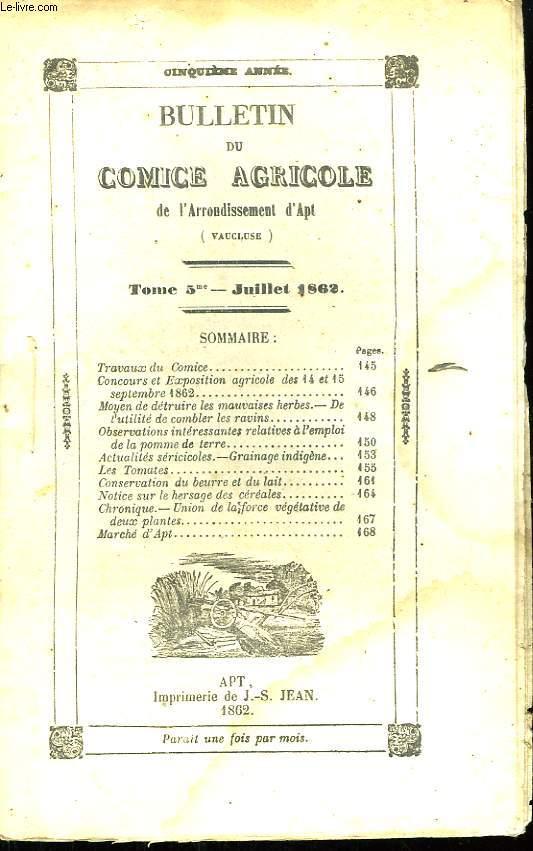 Bulletin du Comice Agricole de l'Arrondissement d'Apt (Vaucluse). TOME 5 - 7ème livraison.