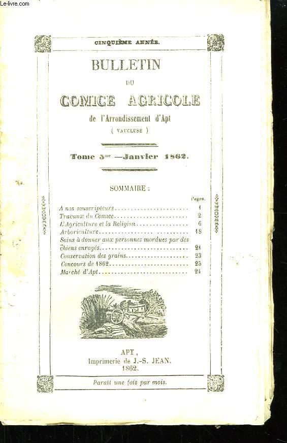 Bulletin du Comice Agricole de l'Arrondissement d'Apt (Vaucluse). TOME 5 - 1ère livraison.