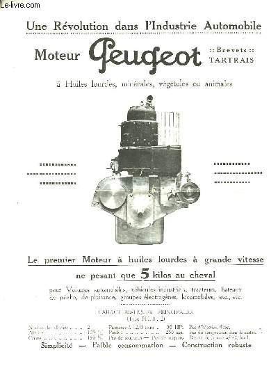 Brochure publicitaire. Moteur Peugeot.