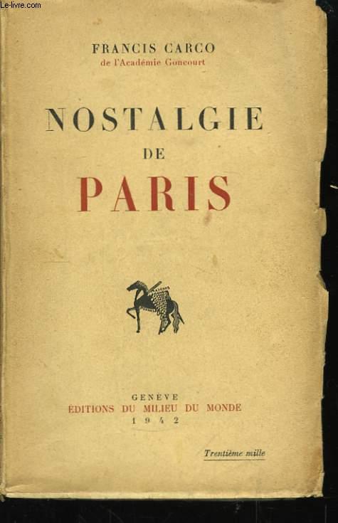 Nostalgie de Paris.