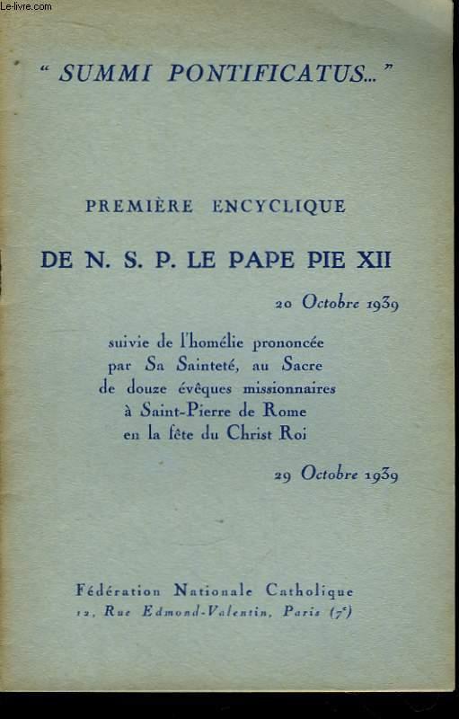 Première encyclique de N.S.P. Le Pape Pie XII