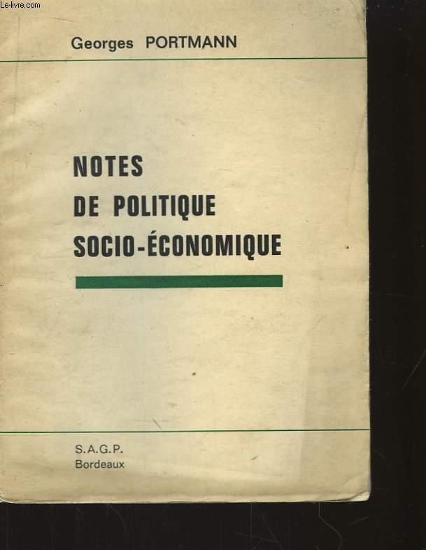 Notes de Politique Socio-Economique