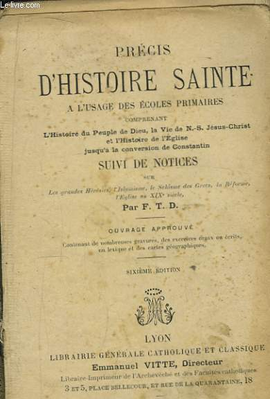 Précis d'Histoire Sainte.