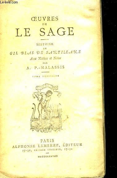 Oeuvres de Le Sage. Histoire de Gil Blas de Santillane. TOME III