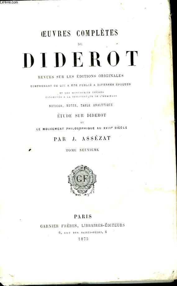 Oeuvres Complètes de Diderot. TOME IX. Belles-Lettre, VI.