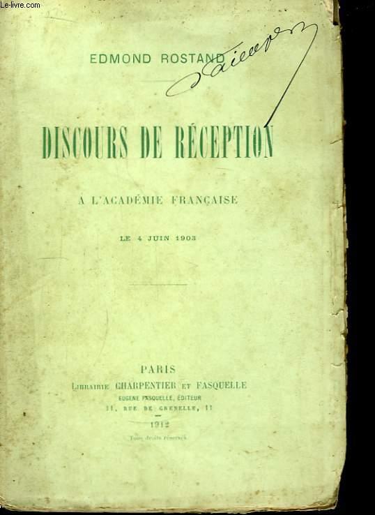 Discours de Réception à l'Académie Française. Le 4 juin 1903