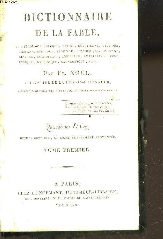 Dictionnaire de la Fable. TOME 1er.