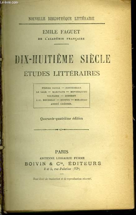 Dix-Huitième siècle, études littéraires.