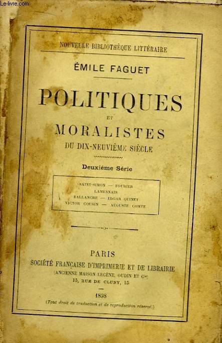 Politiques et Moralistes du dix-neuvième siècle. 2ème série.