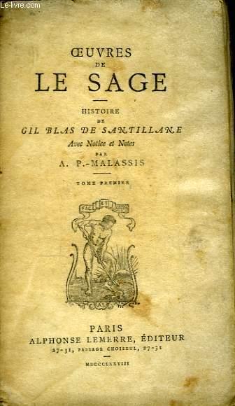 Oeuvres de Le Sage. Histoire de Gil Blas de Santillane. TOME 1er