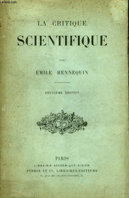 La Critique Scientifique.