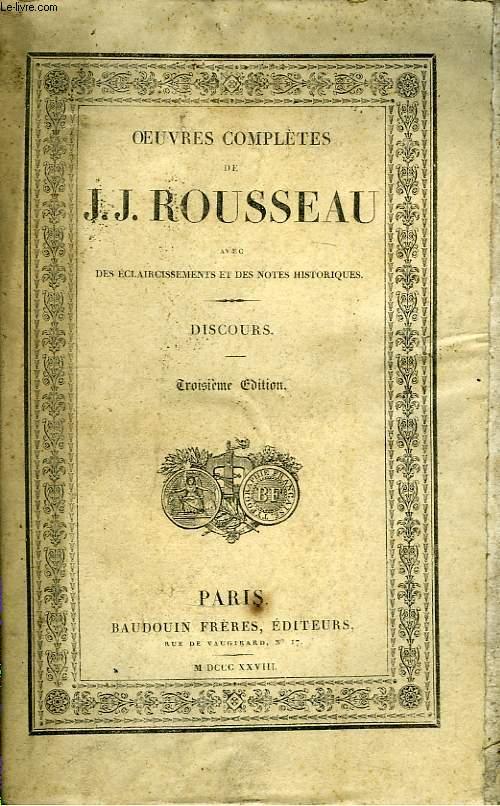 Oeuvres Complètes de J.J. Rousseau. TOME 1 : Discours.