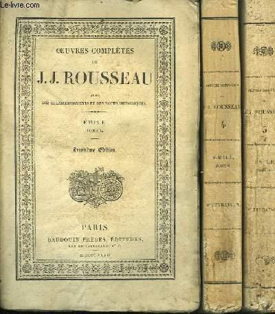 Oeuvres Complètes de J.J. Rousseau. TOMES 3, 4 et 5 : Emile.