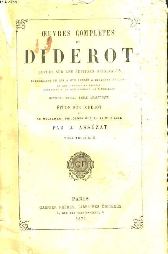 Oeuvres Completes de Diderot. TOME XIII : Beaux-Arts, 4ème partie : Miscellanea. Encyclopédie A - Buste