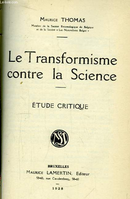 Le Transformisme contre la Science.
