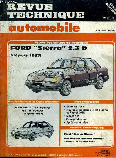 revue technique automobile n 492 ford sierra 2 3 d. Black Bedroom Furniture Sets. Home Design Ideas