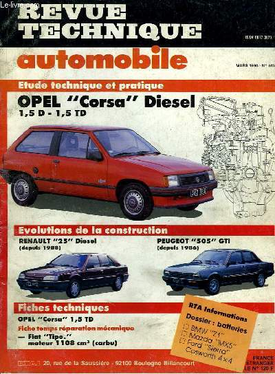 revue technique automobile n 513 opel corsa disel 1 5 d. Black Bedroom Furniture Sets. Home Design Ideas