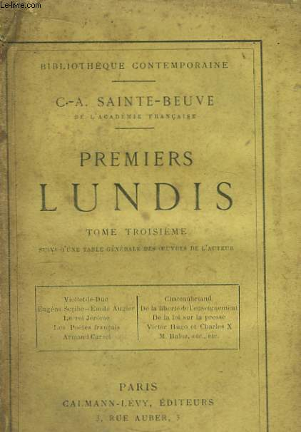 Premiers Lundis. TOME III