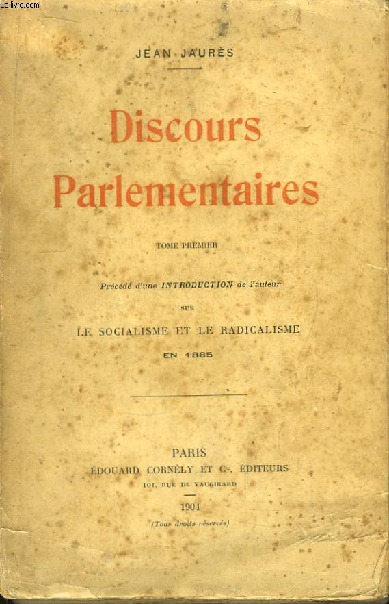 Discours parlementaires. TOME 1er