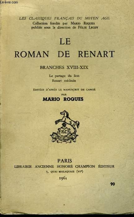 Le Roman de Renart. Branches XVIIi - XIX.