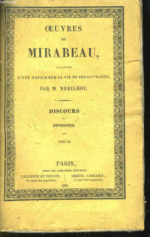 Oeuvres de Mirabeau. Discours et Opinions, Tome III