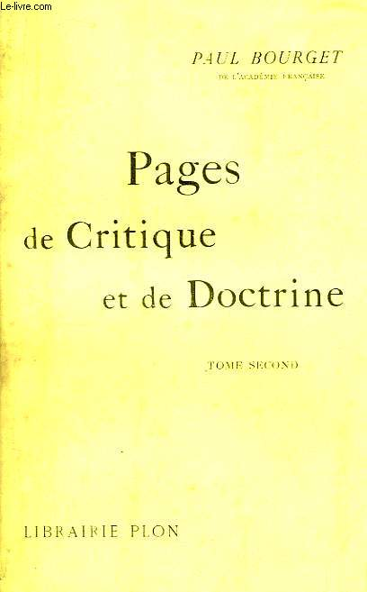 Pages de Critique et de Doctrine. 2nd Tome.