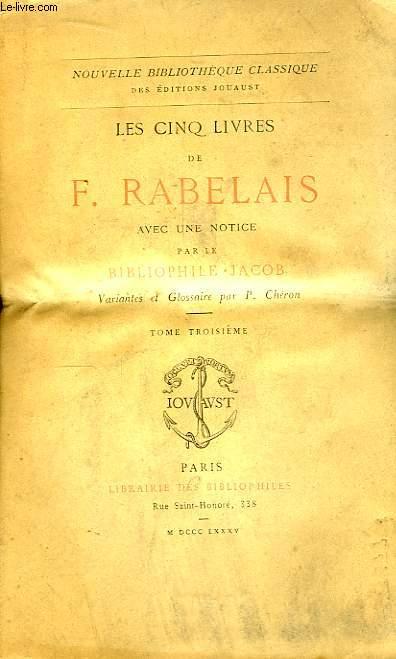 Les cinq livres de F. Rabelais. TOME III