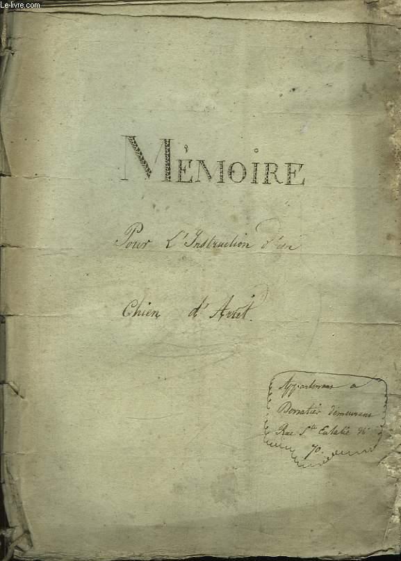 Mémoire pour l'Instruction d'un Chien d'Arrêt.