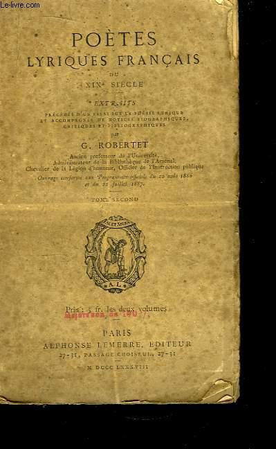 Poètes  Lyriques Français du XIXe siècle. TOME 2nd