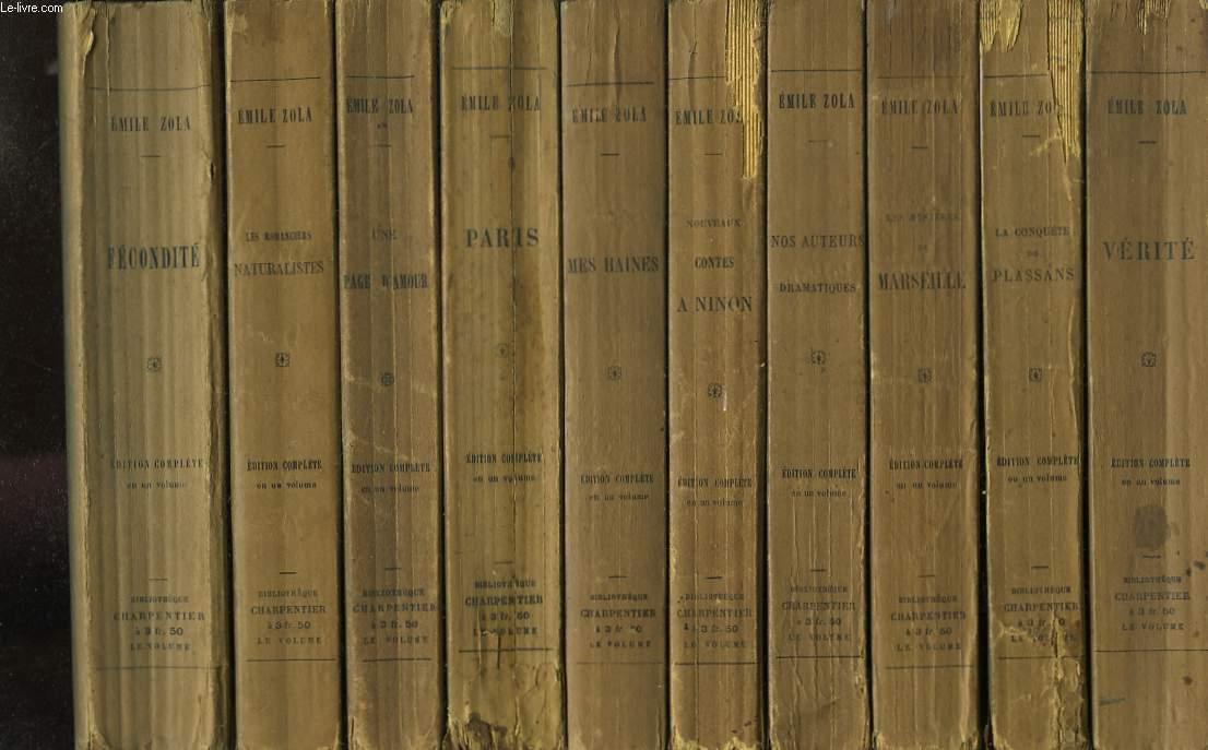 Ensemble de 14 volumes. Fécondité (1899) - Les Romanciers Naturalistes (1898) - Une Page d'Amour (1891) - Paris (1898) - Mes Haines, causeries littéraires et artistiques (1902) - Nouveaux Contes à Ninon (1893) - Nos Auteurs Dramatiques (1896) ...