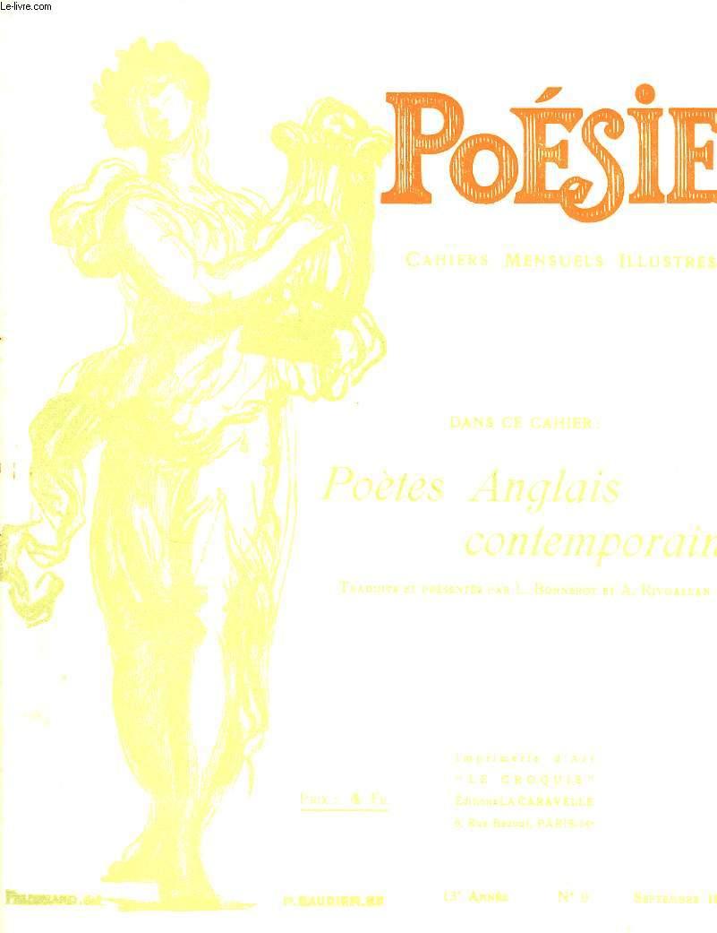 Poésie. Cahiers mensuels illustrés. N°9 - 13ème année : Poètes anglais contemporains.