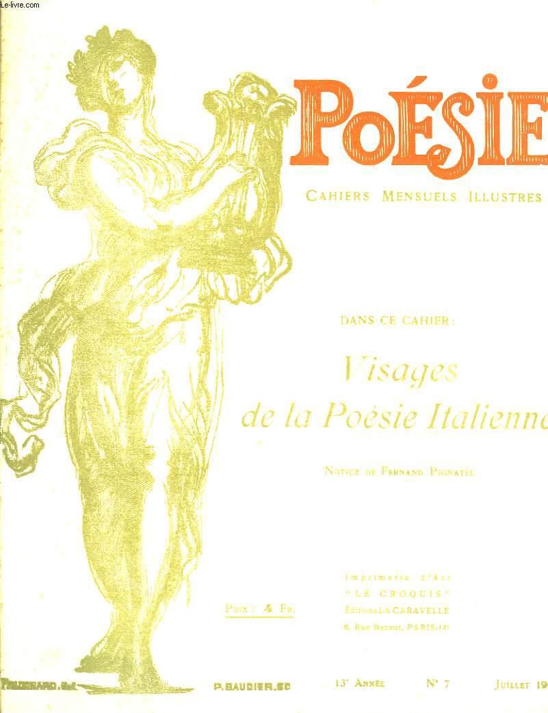 Poésie. Cahiers mensuels illustrés. N°7 - 13ème année : Visages de la Poésie Italienne