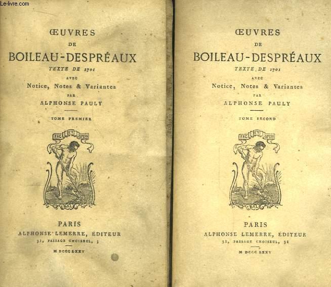 Oeuvres de Boileau-Despréaux. En  2 TOMES