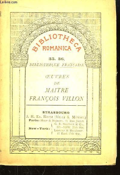 Oeuvres de Maitre François Villon