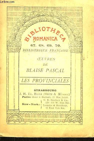 Oeuvres de Blaise Pascal. Les Provinciales.