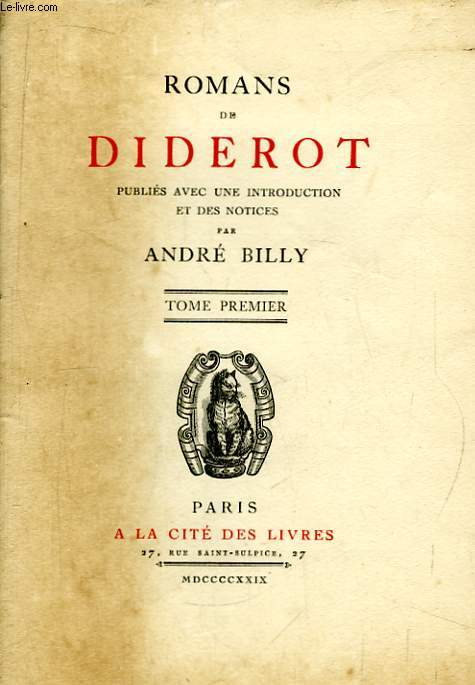 Romans de Diderot. TOME 1er