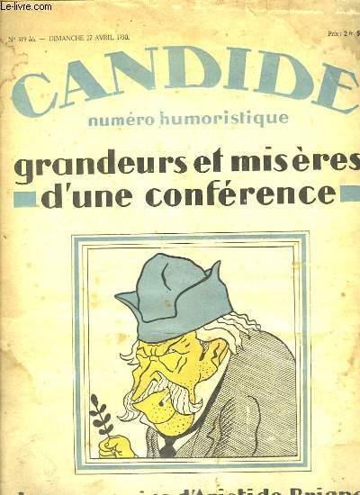 Candide, numéro humoristique N°319 bis : Grandeurs et misères d'une conférence. Les Souvenirs d'Aristide Briand.
