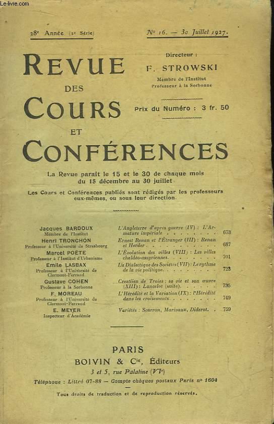 Revue des Cours et Conférences N°16, 28e année.