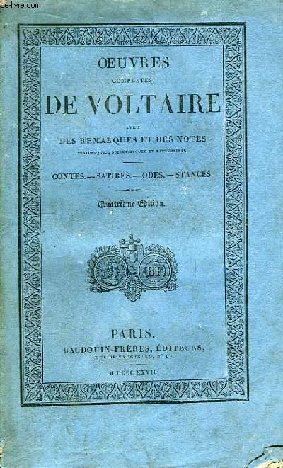 Oeuvres Complètes de Voltaire. TOME 16 : Contes - Satires - Odes - Stances