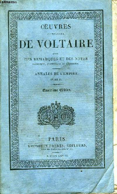 Oeuvres Complètes de Voltaire. TOME 33 : Annales de l'Empire, Tome II