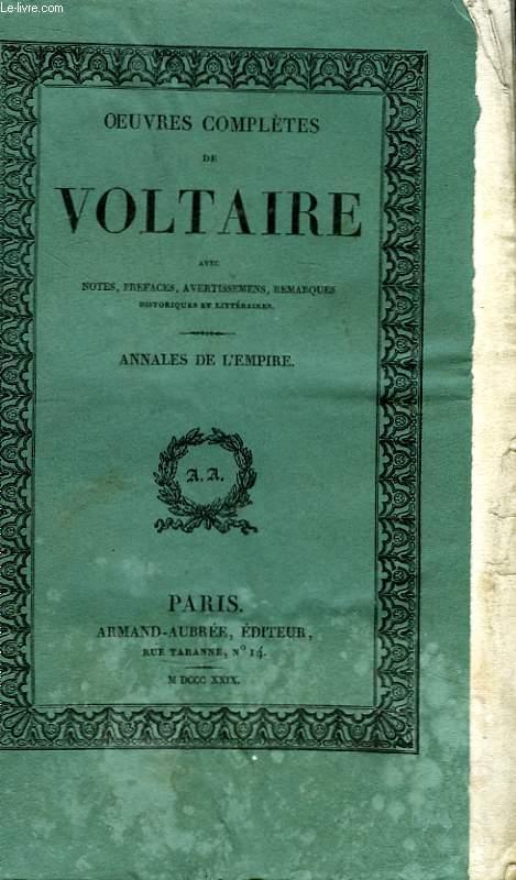 Oeuvres Complètes de Voltaire. TOME 19 : Annales de l'Empire.