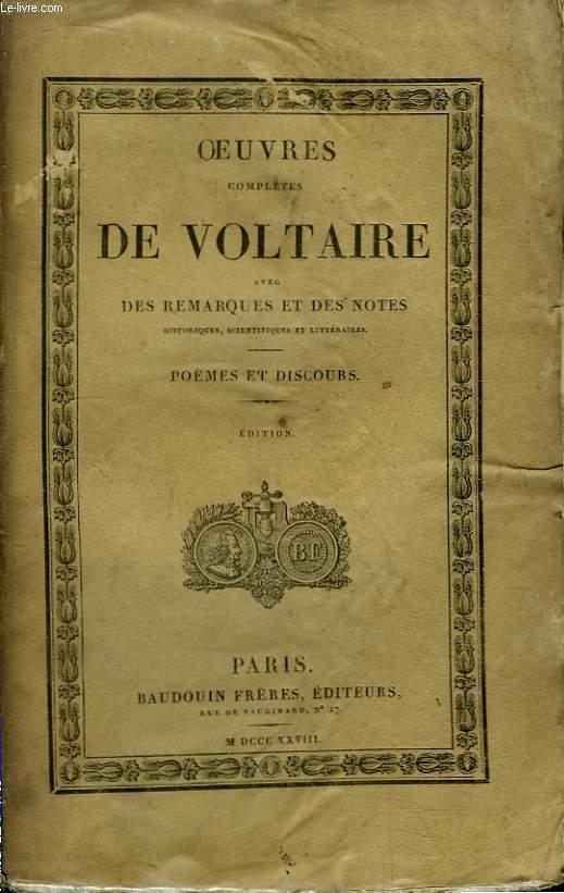 Oeuvres Complètes de Voltaire. TOME 15 : Poèmes et Discours.