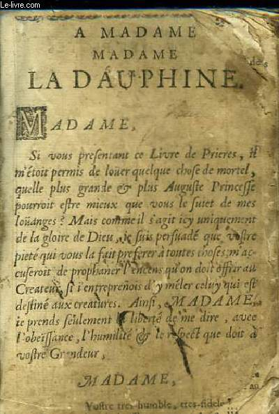 Livre de Prières. L'Exercice Ordinaire du Chrestien. Office des Morts à Vespres (Antienne Placebo)