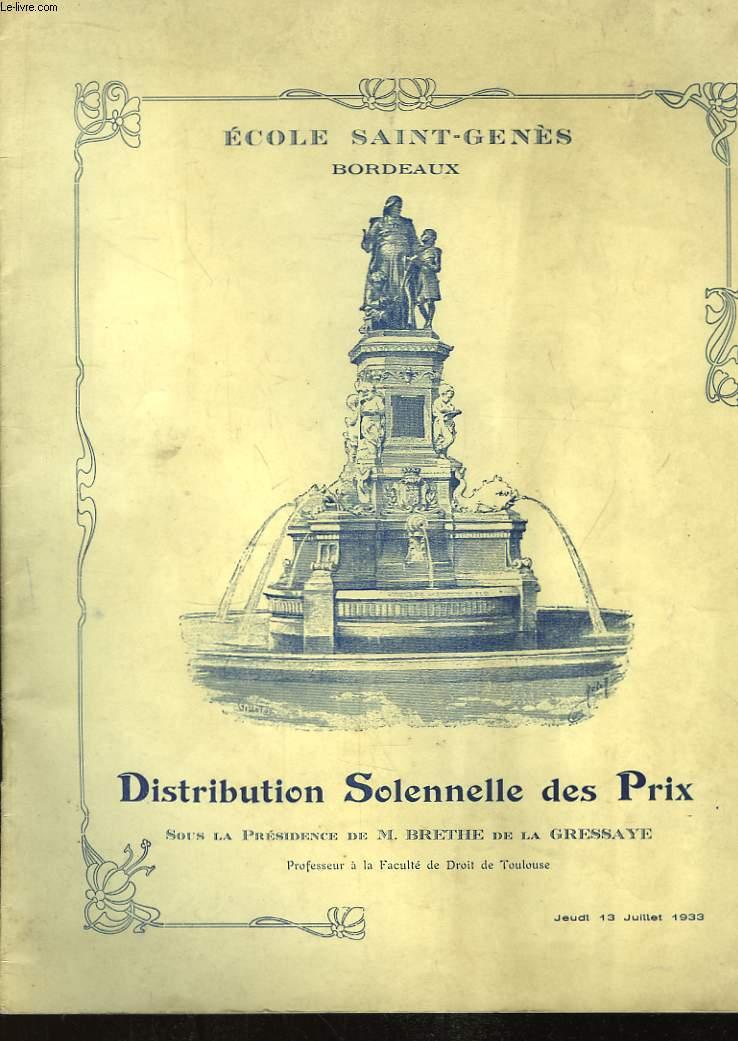 Distribution Solennelle des Prix. 13 juillet 1933