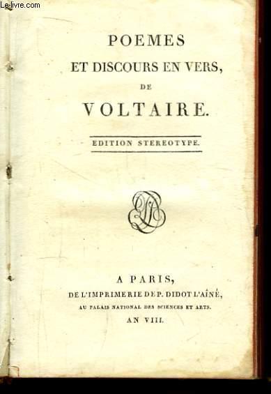 Poèmes et Discours en Vers de Voltaire.