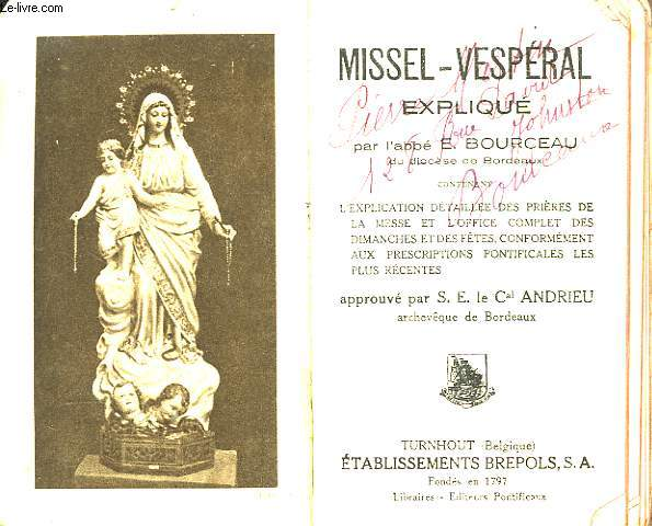 Missel-Vespéral Expliqué. N°215 D.