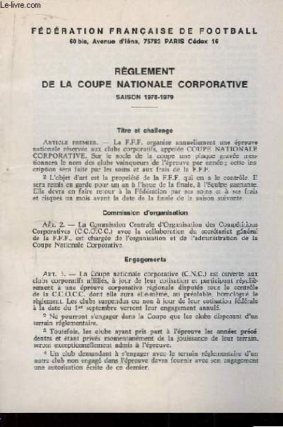 Règlement de la Coupe Nationale Corportative. Saison 1978 - 1979