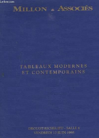 Catalogue de la Vente aux Enchères du 12 juin 1998, à Drouot-Richelieu. Tableaux modernes et contemporains.