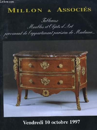 Catalogue de la Vente aux Enchères du 10 octobre 1997 à Drouot. Tableaux, Meubles et Objets d'Art provenant de l'appartement parisien de Madame ...
